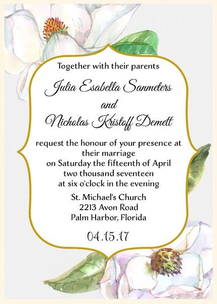 Magnolia Flowers Wedding Invitation