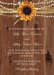 Rustic Sunflower & Lights Wedding Invitation