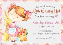 Little Country Girl Birthday Invitation