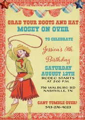 Cowgirl Boots Birthday Invitation