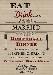 Eat, Drink and Be Married Engagement Dinner Party Invitation