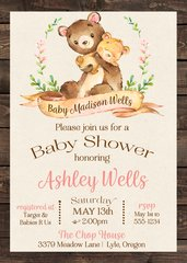Baby Bear Shower Invitation Girl