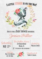Skunk Baby Shower Invitation