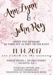 Pink Roses Wedding Invitation