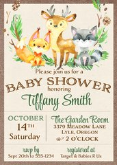 Forest Animals Baby Shower Invitation