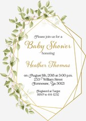 Greenery Gold Baby Shower Invitation