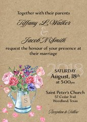 Watering Can Floral Wedding Invitation