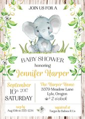 Baby Elephant Shower Invitation-Gender Neutral