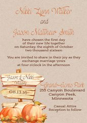 Fall Pumpkin and Wood Sign Wedding Invitation