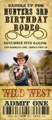 Rodeo Ticket Birthday Invitation