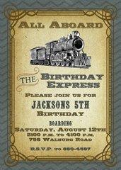 Vintage Blue Train Birthday Invitation