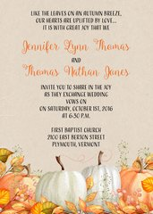 Fall Pumpkin Wedding Invitation