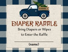 Diaper Raffle Cards Blue Truck