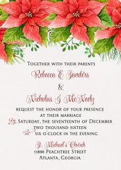 Poinsettia Wedding Invitation