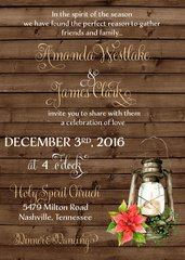 Christmas Rustic Lantern Wedding Invitation