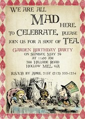 Mad Hatter Alice in Wonderland Birthday Invitation