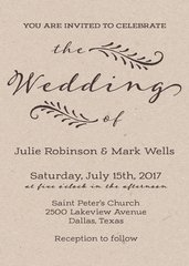 Vintage Kraft Wedding Invitation