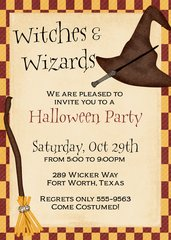 Witches and Wizards Halloween Invitation