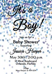 It's a Boy Blue Confetti Baby Shower Invitation