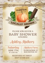 Garden Pumpkin Baby Shower Invitation