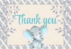 Elephant Thank You Card-Blue