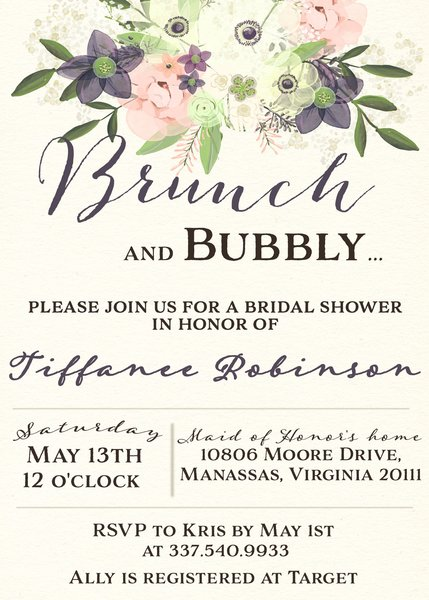 Watercolor Brunch and Bubbly Bridal Shower Invitation