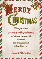 Vintage Merry Christmas Invitation