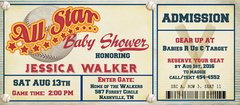 Baseball Ticket Baby Shower Invitation