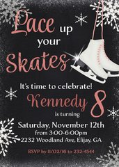 Lace up your Skates Birthday Invitation-Black