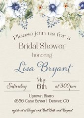 Watercolor Blue Bridal Shower Invitation