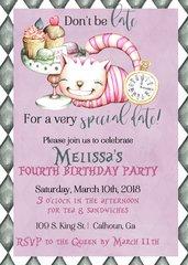 Alice In Wonderland Birthday Invitation Cat