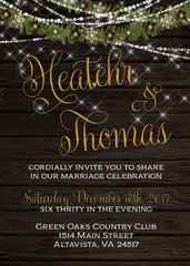 Rustic Winter Lights & Garland Wedding Invitation