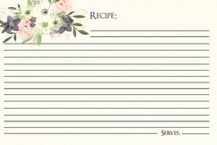 Watercolor Floral Recipe Card