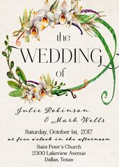Watercolor Orchid Wedding Invitation