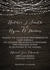 Snow and Lights Rustic Wedding Invitation