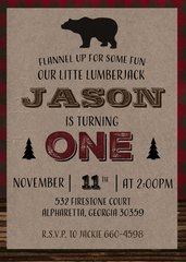 Lumberjack Birthday Invitation-Bear