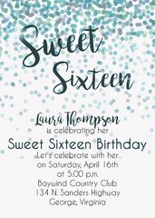Blue & Green Sweet Sixteen Birthday Party Invitation
