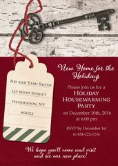 Holiday Tag & Key Housewarming Invitation