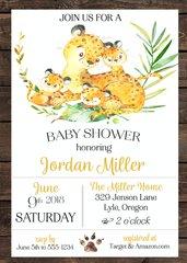 Cheetah Baby Shower Invitation