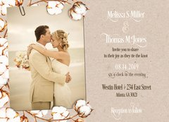 Rustic Cotton Wedding Invitation