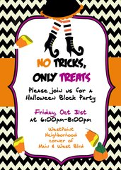 No Tricks Only Treat Halloween Invitation