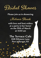 Gold Hearts Bridal Shower Invitation