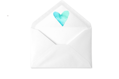 Blue Heart Envelope
