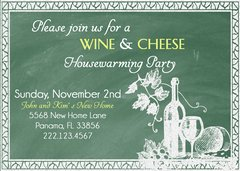 Green Chalkboard Wine & Cheese Housewarming Invitation