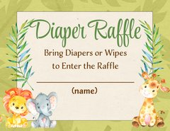 Diaper Raffle Card-Jungle