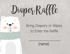 Diaper Raffle Card-Polar Bear