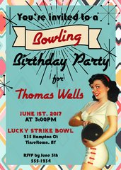 Retro Bowling Birthday Invitation