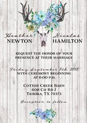 Boho Floral Deer Wedding Invitation