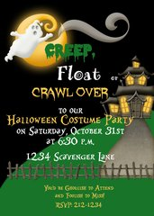 Creep, Float or Crawl Halloween Invitation