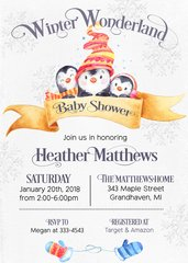 Winter Penguins Baby Shower Invitation